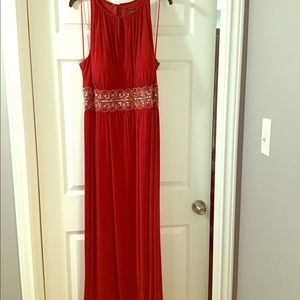 R&M Richards Red Beaded Gown